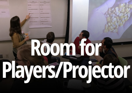 group of game players looking at chart and projector
