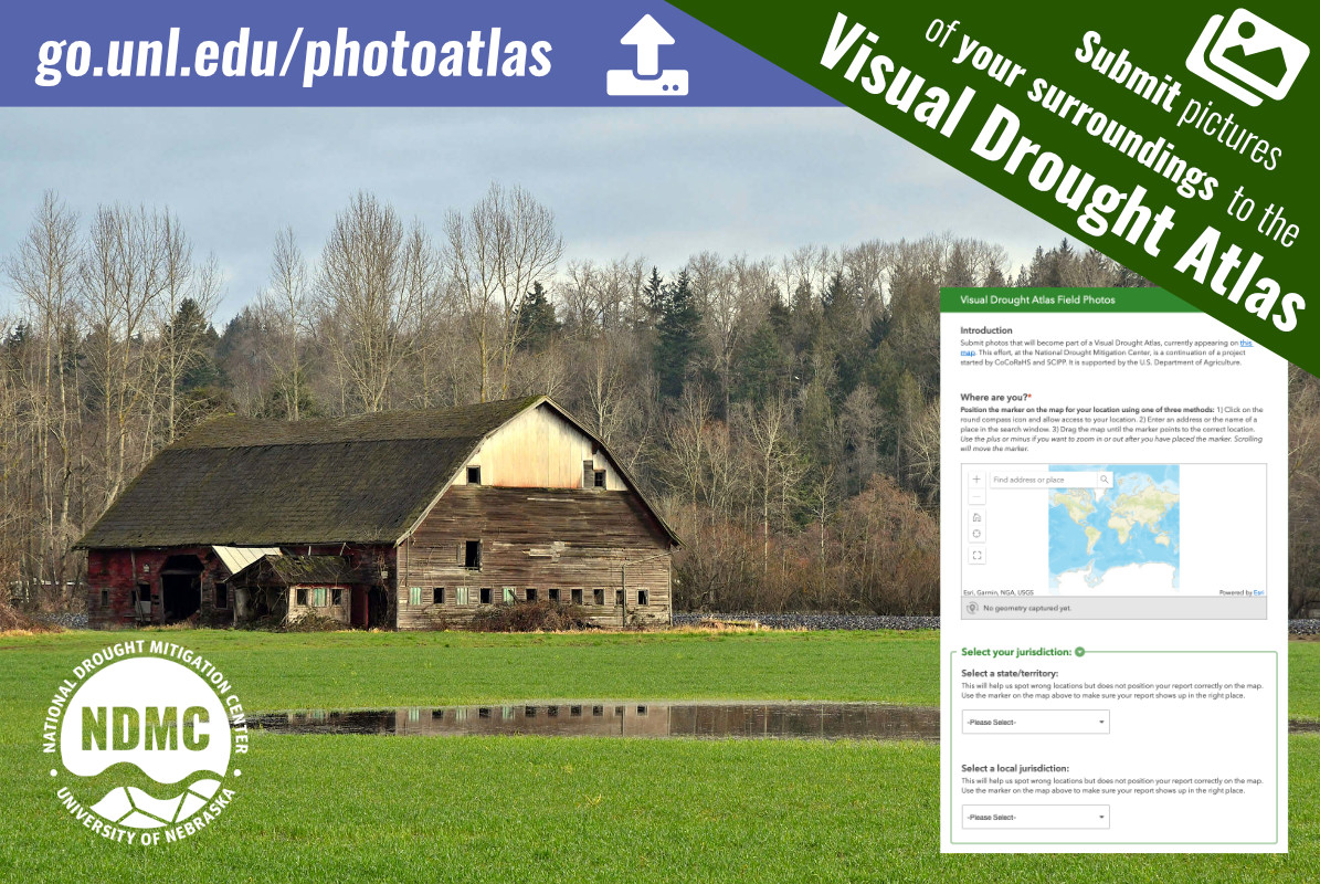 Visual Drought Atlas graphic that shows a barn on wetland and encourages users to submit photos